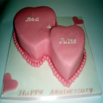 Two Hearts Anniversary Cake